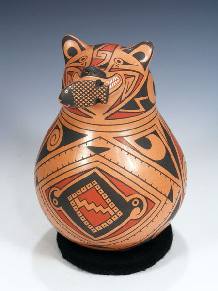 Mata Ortiz Hand Coiled Pottery Bear Effigy by Carlos Villalba - PuebloDirect.com - 1