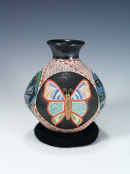 Mata Ortiz Hand Coiled and Painted Pottery Butterfly Vase