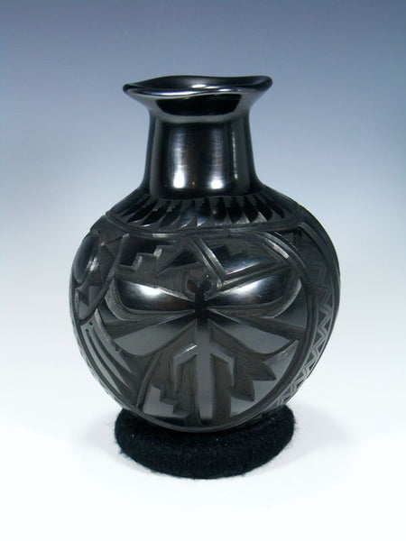 Mata Ortiz Hand Coiled Black Carved Pottery