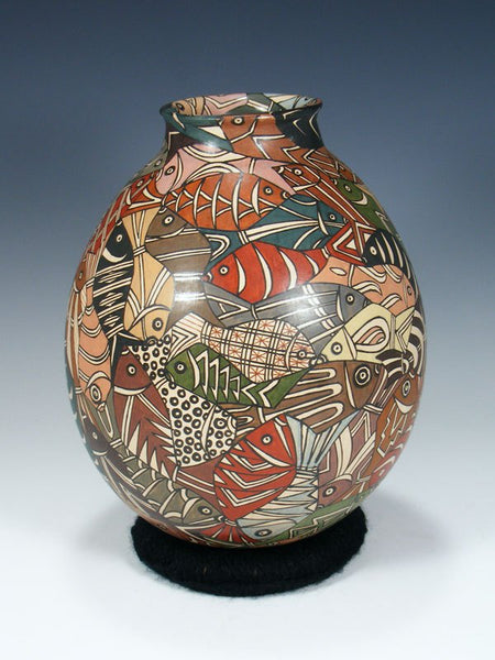 Mata Ortiz Hand Coiled Painted Pottery Vase
