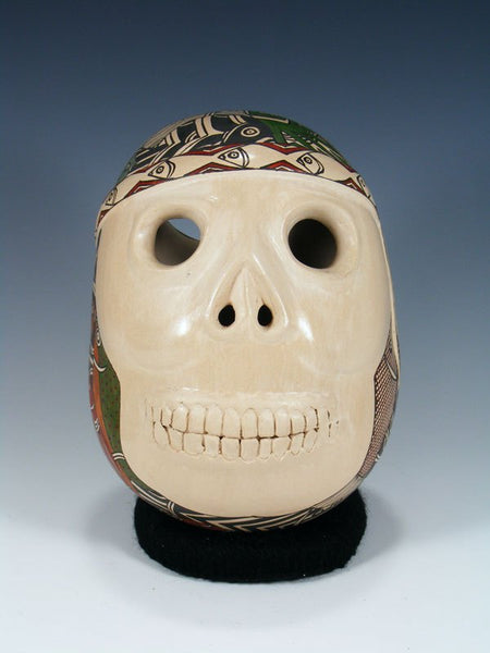 Mata Ortiz Hand Coiled Painted Skull Pottery