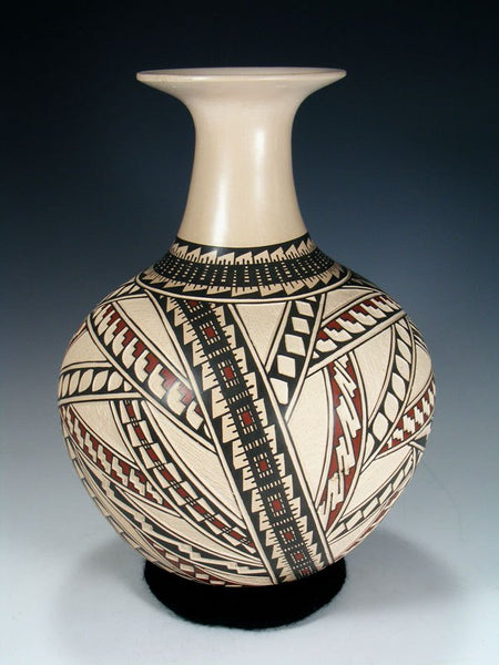 Mata Ortiz Hand Coiled White Clay Pottery Vase