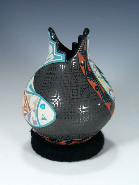 Mata Ortiz Hand Coiled and Painted Pottery Vase
