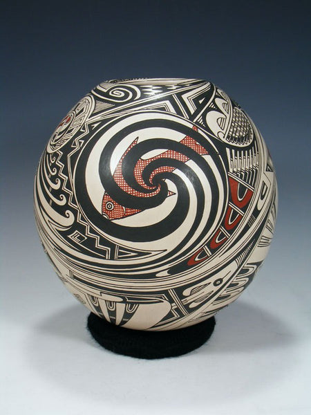 Mata Ortiz Hand Coiled Painted Fish Pottery