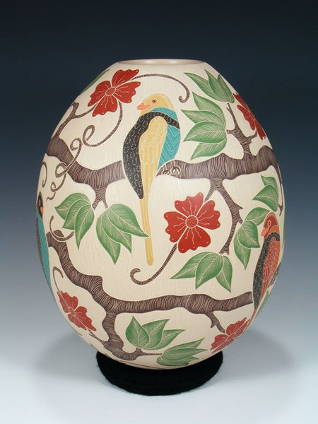 Mata Ortiz Hand Coiled and Etched Bird Pottery