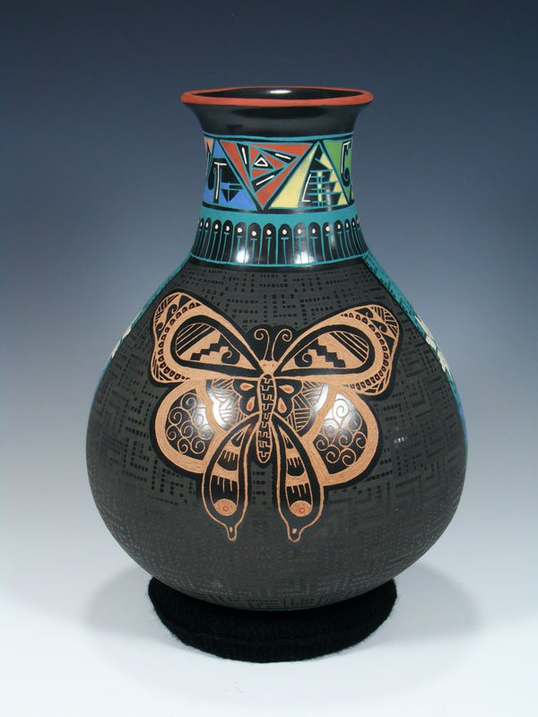 Mata Ortiz Hand Coiled Geometric Painted Pottery Vase