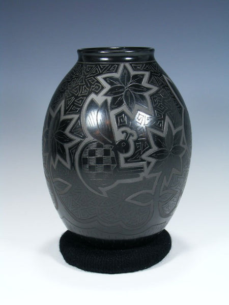 Mata Ortiz Hand Coiled Etched Black Pottery