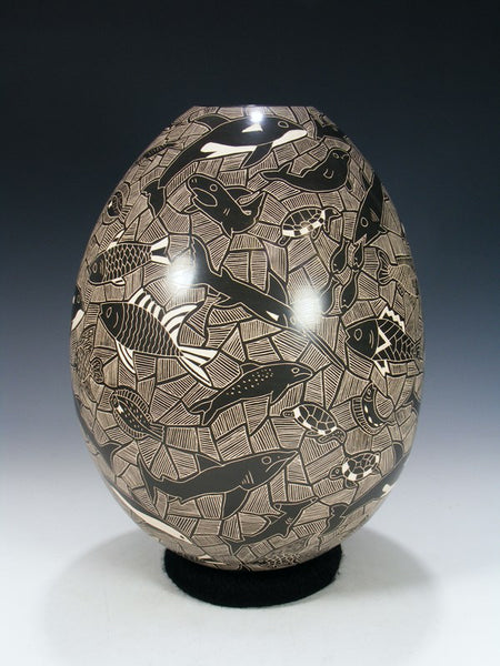 Mata Ortiz Hand Etched Sealife Pottery