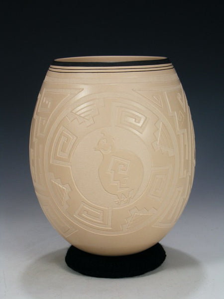 Traditional Mata Ortiz Carved Pottery Olla