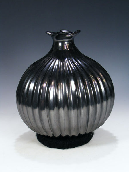 Mata Ortiz Hand Coiled Black Ribbed Pottery