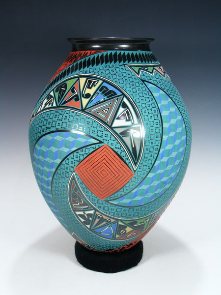 Mata Ortiz Hand Coiled and Painted Large Pottery