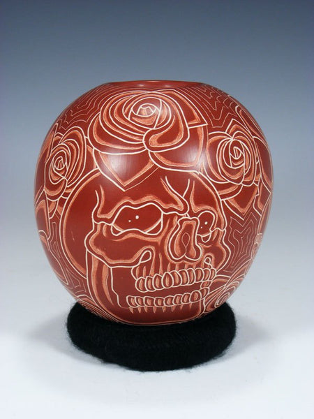 Mata Ortiz Hand Coiled Etched Skull Pottery