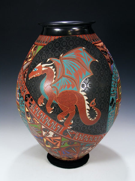 Mata Ortiz Hand Coiled Dragon Pottery