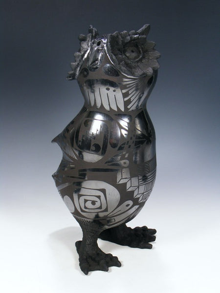 Mata Ortiz Hand Coiled Pottery Owl Effigy