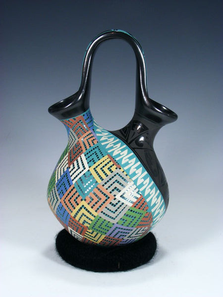 Mata Ortiz Hand Coiled and Painted Wedding Vase