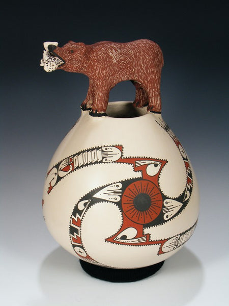 Mata Ortiz Hand Coiled Brown Bear Pottery