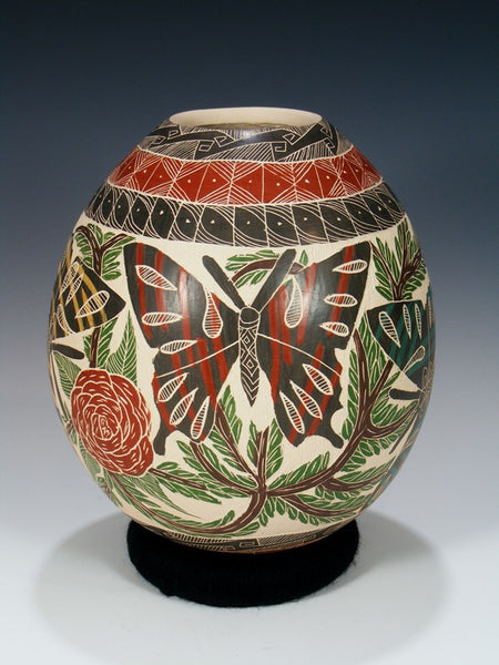 Mata Ortiz Painted and Etched Butterfly Pottery