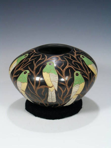 Mata Ortiz Painted and Etched Painted Bird Pottery