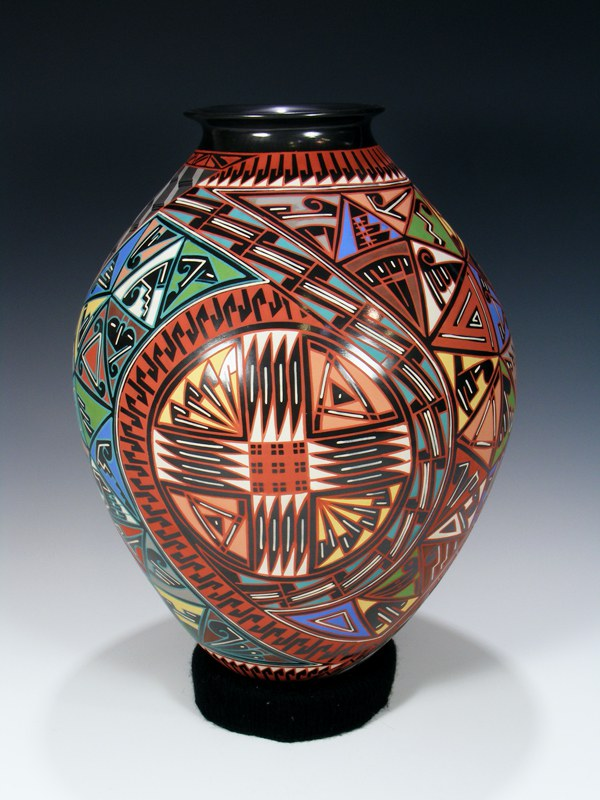 Mata Ortiz Hand Coiled Large Painted Pottery Vase Pueblodirect