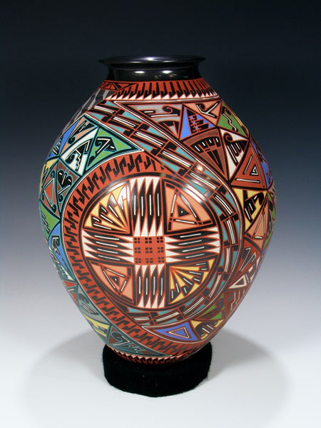 Mata Ortiz Hand Coiled Large Painted Pottery Vase