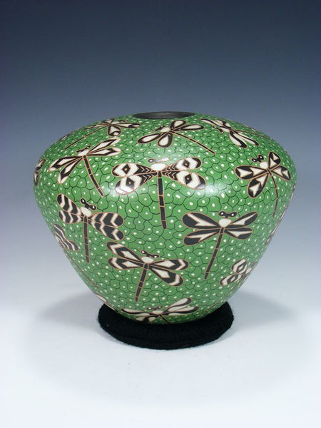 Mata Ortiz Painted and Etched Dragonfly Pottery