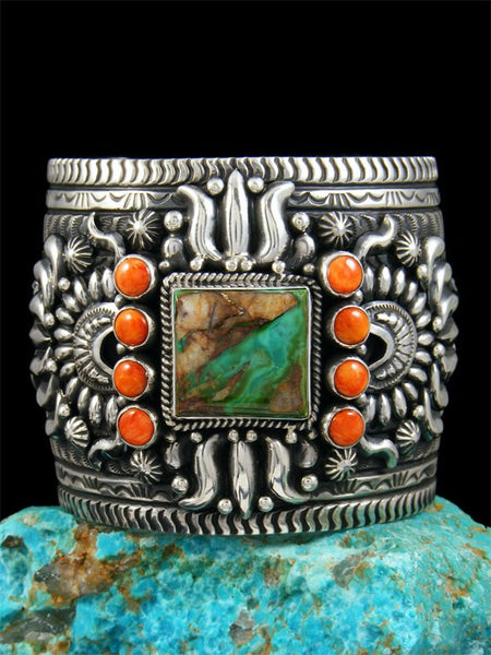 Native American Sterling Silver Royston Turquoise and Spiny Oyster Cuff Bracelet
