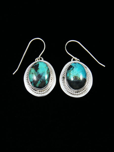 Blue Diamond Turquoise Dangle Earrings
