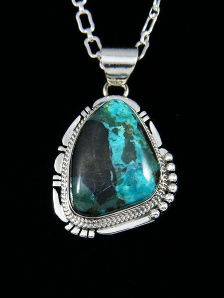 Native American Indian Jewelry Blue Diamond Turquoise Pendant