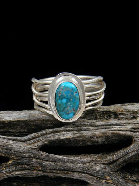 Apache Blue Turquoise Ring, Size 6
