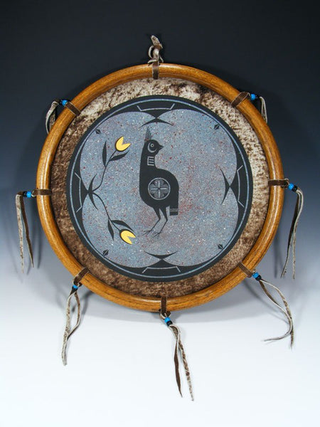 Zia Pueblo Hand Painted Leather Wall Hanging