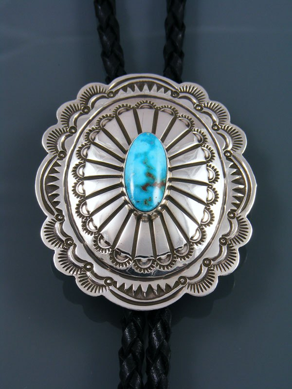 Native American Sterling Silver Turquoise Bolo Tie