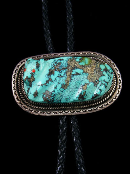 Native American Sterling Silver Carved Turquoise Bolo Tie