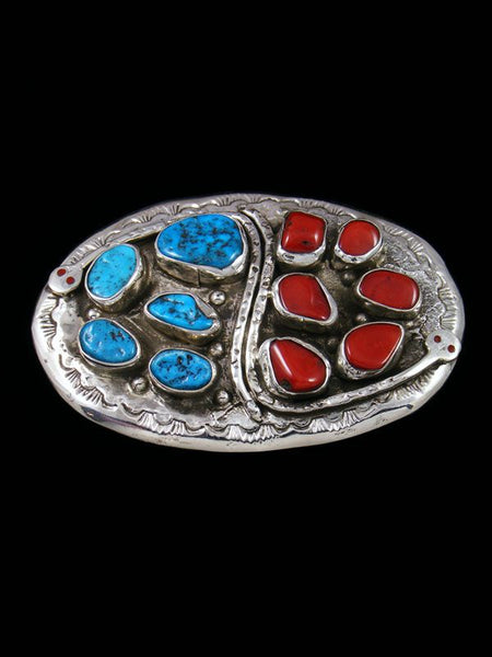 Sterling Silver Native American Turquoise and Coral Belt Buckle
