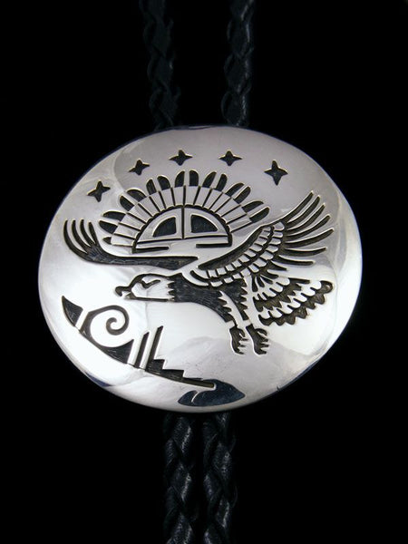 Native American Indian Sterling Silver Overlay Bolo Tie