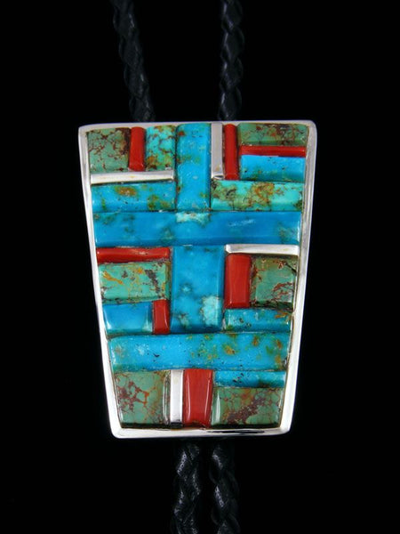Native American Sterling Silver Coral and Turquoise Bolo Tie