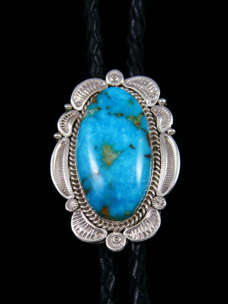 Native American Sterling Silver Kingman Turquoise Bolo Tie