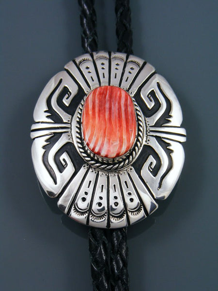 Navajo Sterling Silver and Spiny Oyster Overlay Bolo Tie