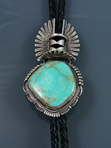 Native American Sterling Silver Kingman Turquoise Kachina Bolo