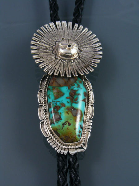 Native American Sterling Silver Royston Turquoise Kachina Bolo