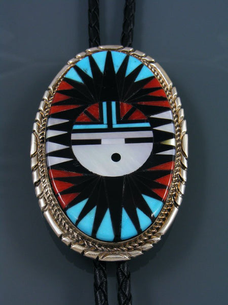 Zuni Pueblo Inlay Turquoise and Coral Sunface Bolo Tie
