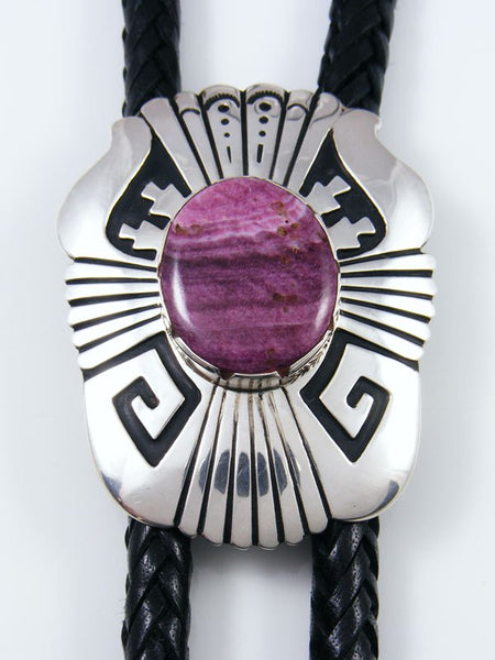 Native American Sterling Silver Spiny Oyster Overlay Bolo