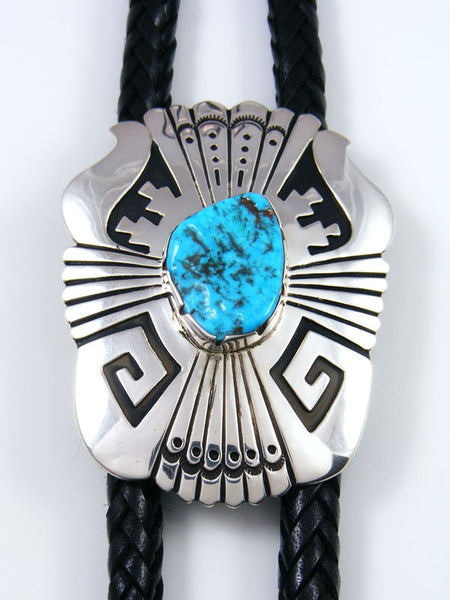 Native American Sterling Silver Kingman Turquoise Overlay Bolo