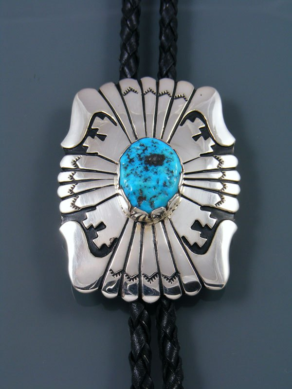Native American Sterling Silver Turquoise Overlay Bolo