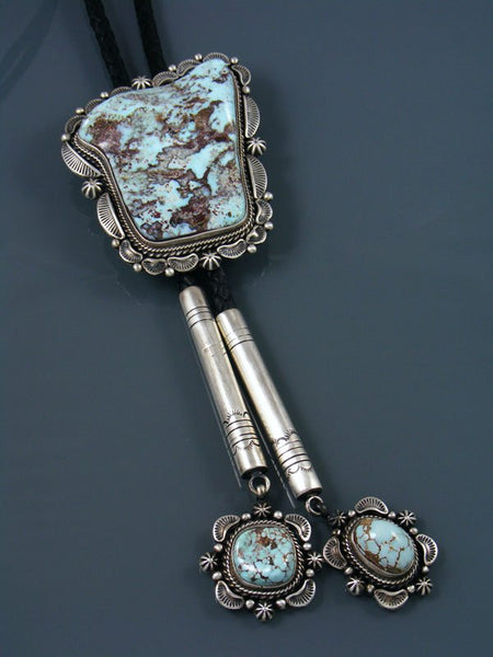 Native American Sterling Silver Dry Creek Turquoise Bolo Tie