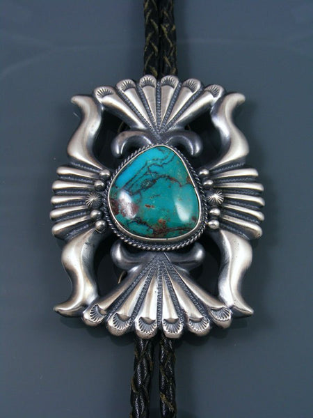 Native American Sterling Silver Bisbee Turquoise Bolo Tie