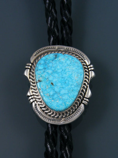 Navajo Sterling Silver Kingman Turquoise Bolo Tie