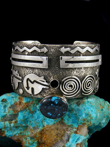 Navajo Sterling Silver Petroglyph Turquoise Cuff Bracelet