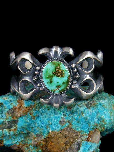 Navajo Pilot Mountain Turquoise Sterling Silver Cuff Bracelet
