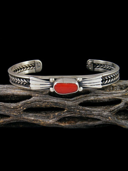 Navajo Red Coral Sterling Silver Cuff Bracelet