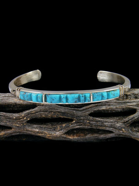 Native American Indian Kingman Turquoise Inlay Bracelet